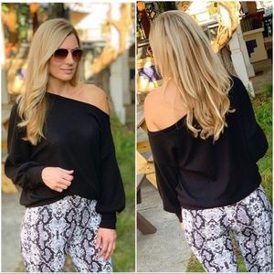 LAST ONE! Black Slouchy Waffle Knit Sweater Tunic